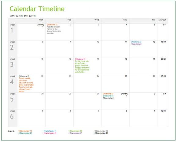 Calendar Timeline Template   Free Printable Word Excel  Pdf