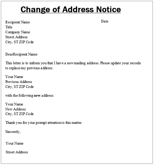 Change Of Address Notice Templates Free Word Excel PDF - Change of address letter template