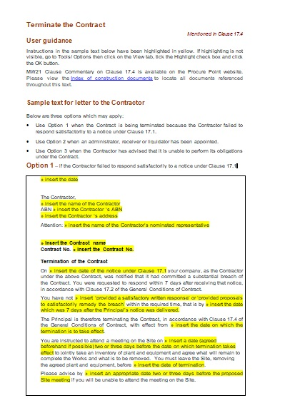 Contract Termination Notice Template