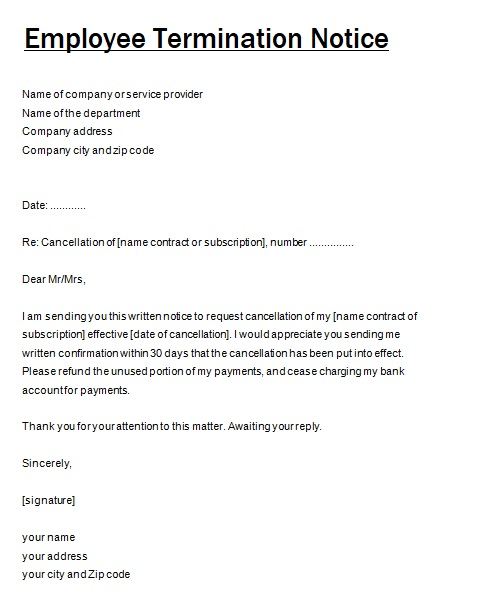 Notice Of Cancellation Template  Resume Ideas  NamanasaCom