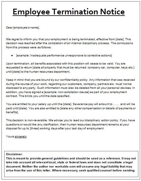 termination notice template