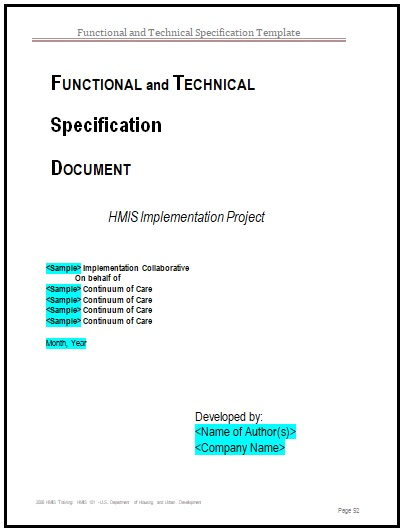 technical specification template example - functional specification templates 2 printable word formats