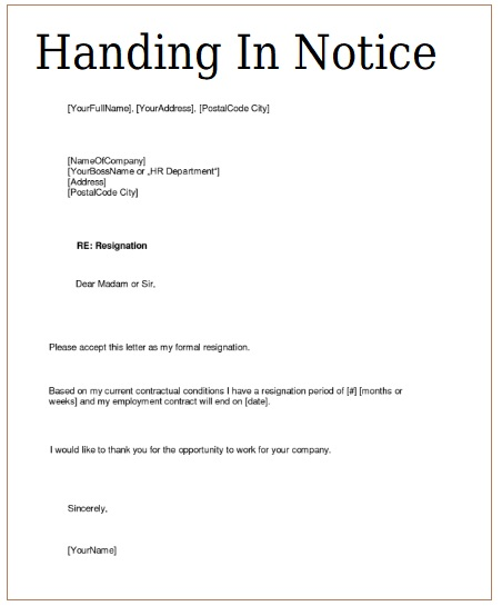 6 handing in notice templates free printable word pdf sample handing in notice template spiritdancerdesigns Images