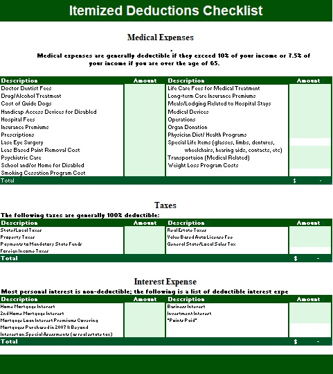 itemized list of expenses template