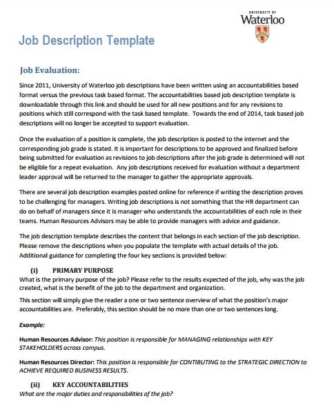 Job Description Template Pdf