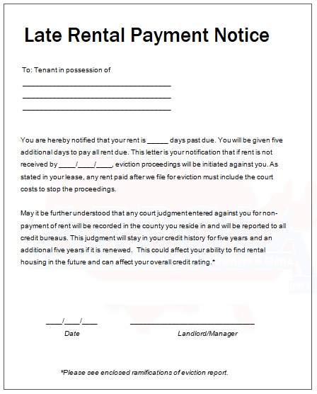 Late Rental Notice File Size Kb Late Rent Payment Notice Template