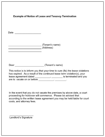free lease termination notice template
