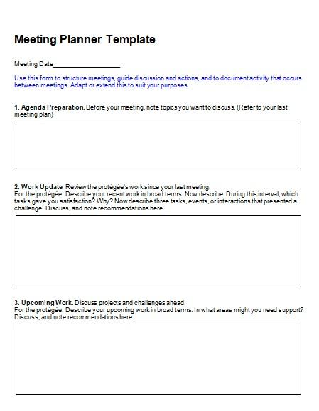 Sample Meeting Planner Format  Meeting Planner Templates