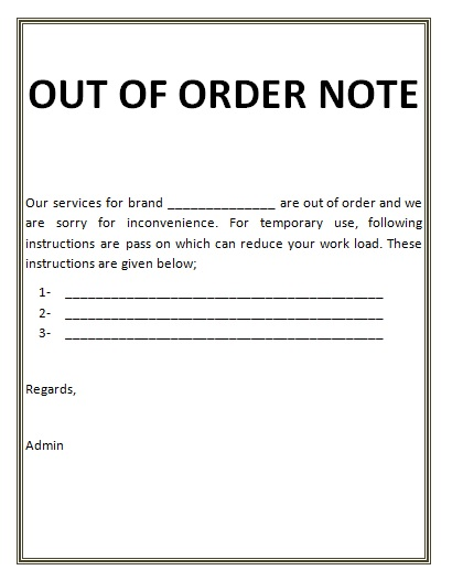 2 out of order note templates free printable word pdf