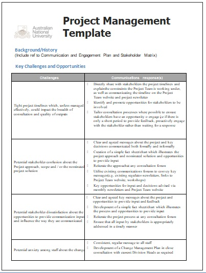 Project management templates 4 printable word and pdf for Project management communications plan template