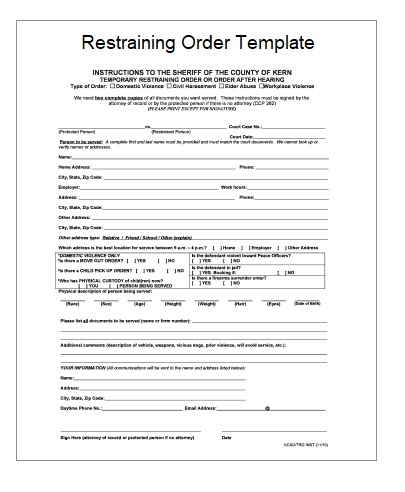 Restraining Order Templates  Free Printable Word  Excel
