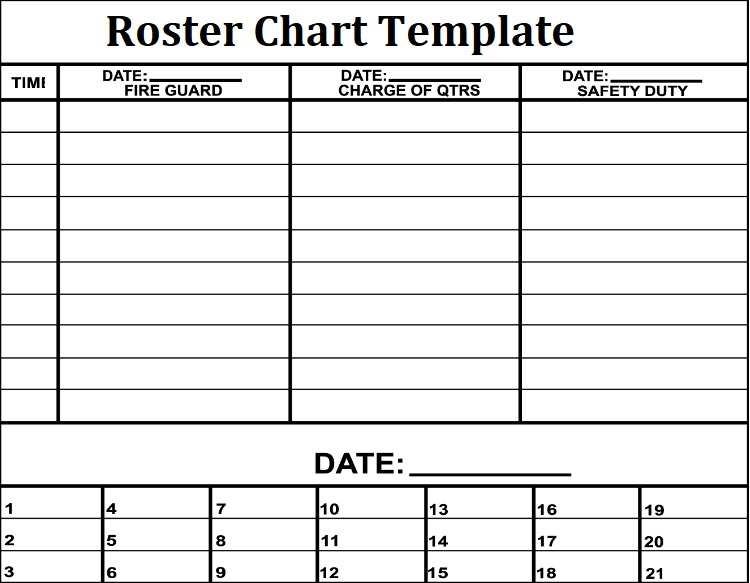 printable roster template