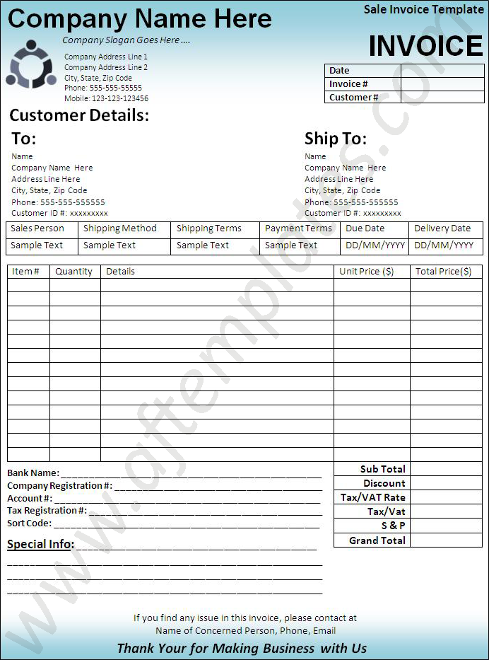 Sales Invoice Templates 11 Free Printable Word Excel Pdf Formats Samples Examples Forms