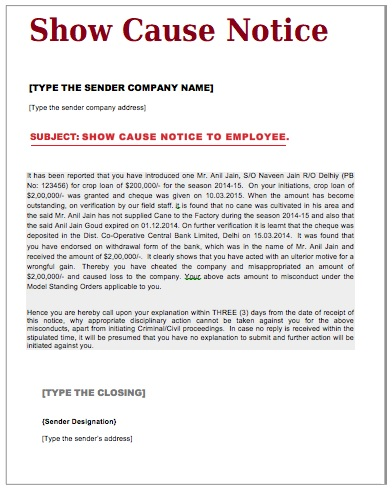 show cause notice hr letter formats
