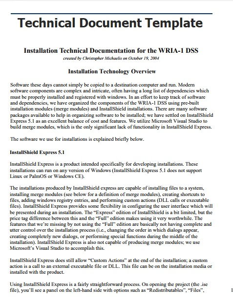 Technical-Doent-Template-PDF Technical Doentation Format Example on