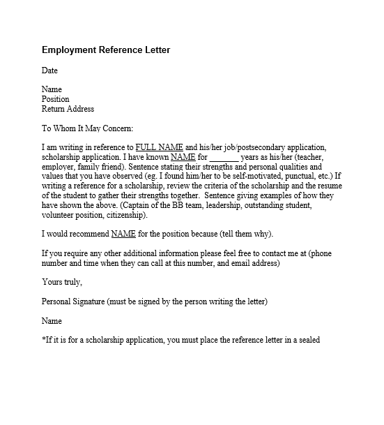 Employment Reference Word Template  Employment Reference Template