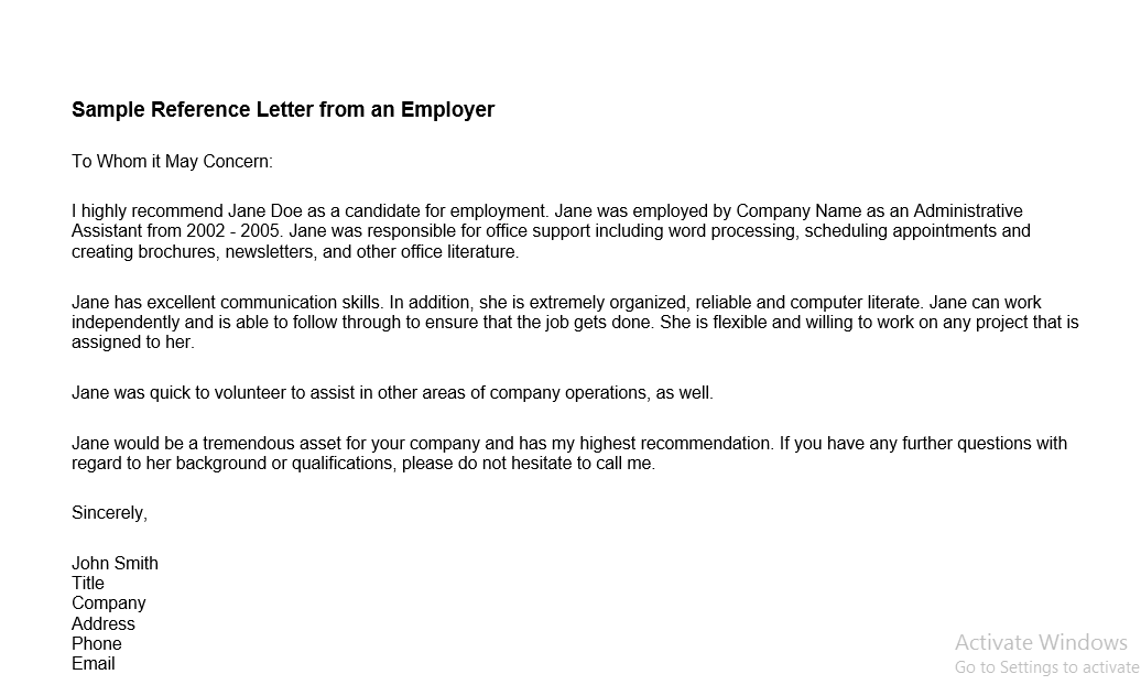 letter of recommendation word template