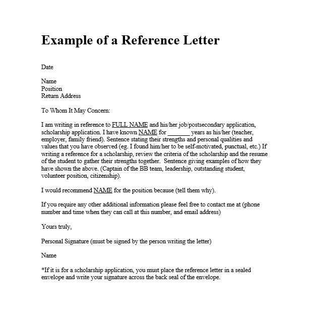 Personal Reference Letter Template Word from www.sampleformats.org
