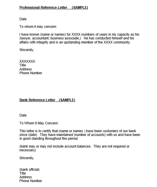 Professional Reference Letter For Bank Account