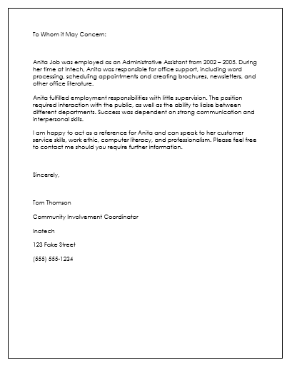 Employee Reference Letter Template  Employment Reference Letter Samples Free
