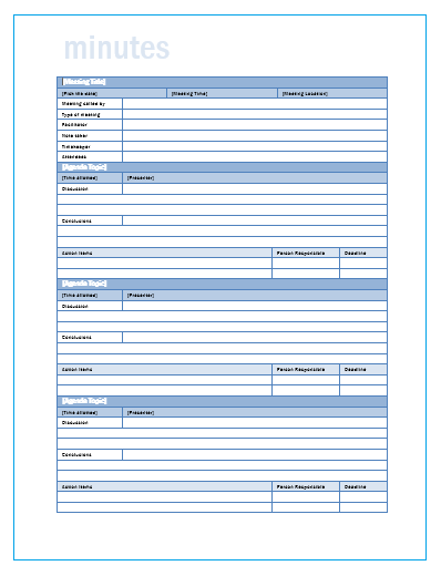 Meeting Minutes Templates | 11+ Free Printable Excel, PDF ...