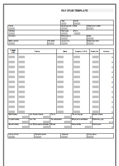 pay stub templates