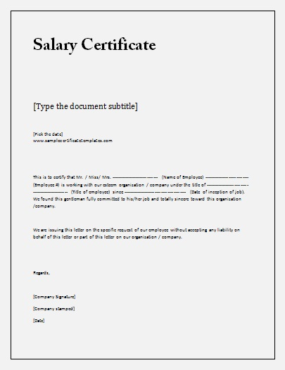 Salary Certificate Formats 16 Printable Word Excel Pdf