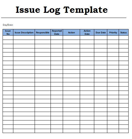 issue log templates 6 free word excel pdf formats. Black Bedroom Furniture Sets. Home Design Ideas